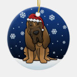 Kawaii Cartoon Bloodhound Christmas Ceramic Ornament