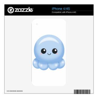 Kawaii Cartoon Blue Octopus Decal For iPhone 4S