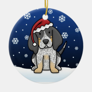 Kawaii Cartoon Bluetick Coonhound Christmas Ceramic Ornament