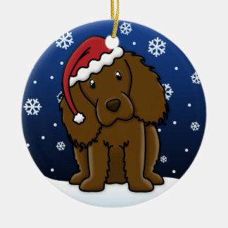 Kawaii Cartoon Boykin Spaniel Christmas Ceramic Ornament
