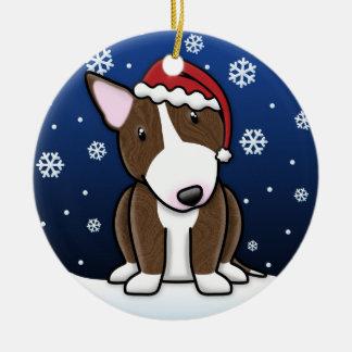 Kawaii Cartoon Brindle Bull Terrier Christmas Double-Sided Ceramic Round Christmas Ornament