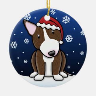 Kawaii Cartoon Brindle Bull Terrier Christmas Christmas Tree Ornaments