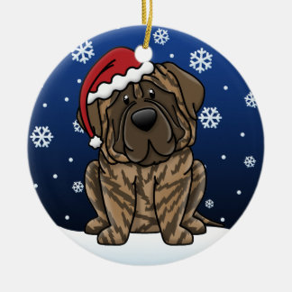 Kawaii Cartoon Brindle Mastiff Ornaments