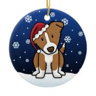 Kawaii Cartoon Brown Border Collie Christmas Ornament