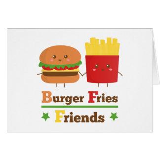 Kawaii Cartoon Burger Fries Friends BFF Card