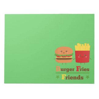 Kawaii Cartoon Burger Fries Friends BFF Notepad
