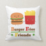 Kawaii Cartoon Burger Fries Friends BFF Throw Pillows