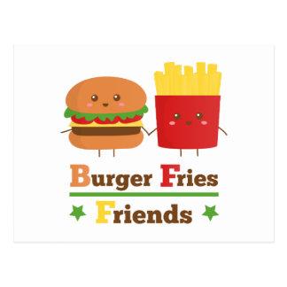 Kawaii Cartoon Burger Fries Friends BFF Post Card