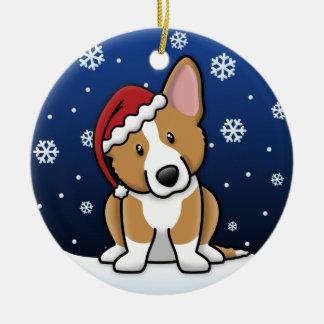 Kawaii Cartoon Cardigan Welsh Corgi Christmas Ceramic Ornament