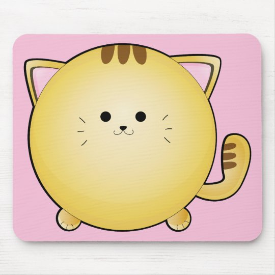 Kawaii Cartoon Cat on Pink Mouse Pad