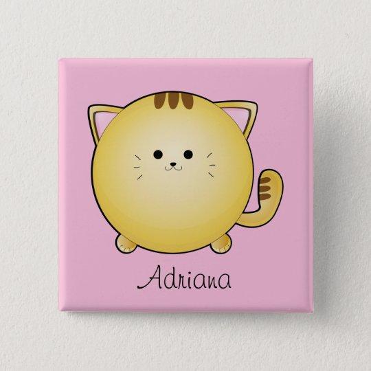Kawaii Cartoon Cat on Pink Name Pinback Button