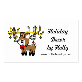 Kawaii Cartoon Christmas Reindeer Deer Business Business Cards