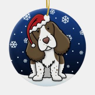 Kawaii Cartoon English Springer Spaniel Christmas Double-Sided Ceramic Round Christmas Ornament