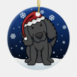Kawaii Cartoon Flat Coated Retriever Christmas Christmas Ornament