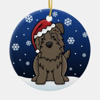 Kawaii Cartoon Glen of Imaal Terrier Christmas Ceramic Ornament
