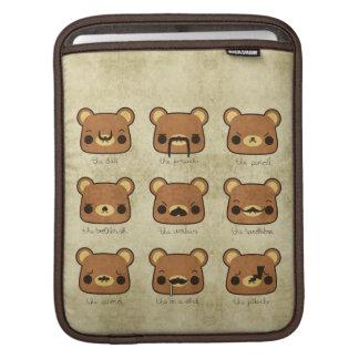 Kawaii Cartoon Grunge Bears Mustaches ipad sleeve