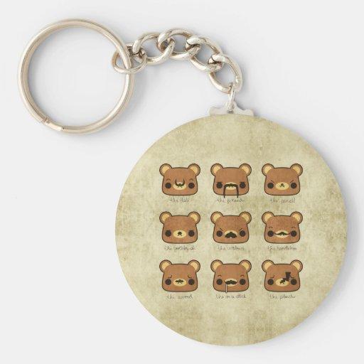 Kawaii Cartoon Grunge Bears Mustaches Keychain