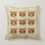 Kawaii Cartoon Grunge Bears with Mustaches Pillow