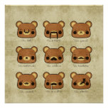 Kawaii Cartoon Grunge Bears with Mustaches Poster