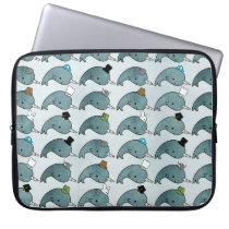 Kawaii Cartoon Grunge Narwhals hats Laptop Bag