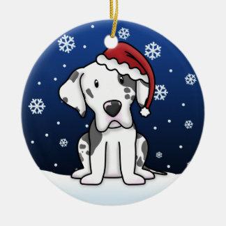 Kawaii Cartoon Harlequin Great Dane Christmas Christmas Ornaments