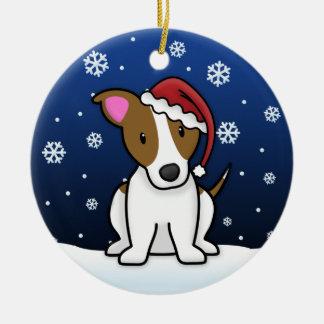 Kawaii Cartoon Jack Russell Terrier Christmas Ceramic Ornament