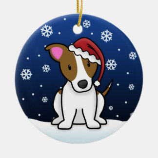 Kawaii Cartoon Jack Russell Terrier Christmas Double-Sided Ceramic Round Christmas Ornament