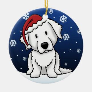 Kawaii Cartoon Kuvasz Christmas Double-Sided Ceramic Round Christmas Ornament