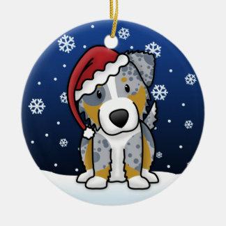 Kawaii Cartoon Merle Australian Shepherd Christmas Christmas Tree Ornaments