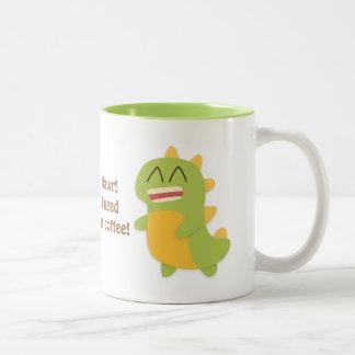 Kawaii cartoon of Dino for the coffee lovers Two-Tone Coffee Mug