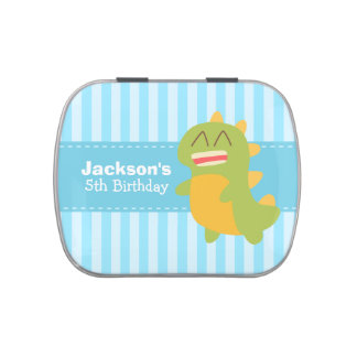 Kawaii cartoon of green and yellow Dino Jelly Belly Candy Tins