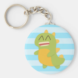 Kawaii cartoon of green and yellow Dino Keychain