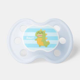 Kawaii cartoon of green and yellow Dino Baby Pacifiers