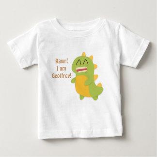 Kawaii cartoon of green and yellow Dino Tee Shirt
