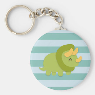Kawaii cartoon of green and yellow Triceratops Basic Round Button Keychain