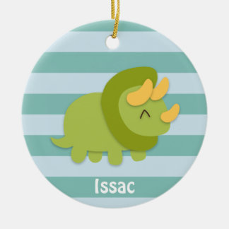 Kawaii cartoon of green and yellow Triceratops Double-Sided Ceramic Round Christmas Ornament