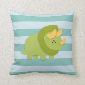 Kawaii cartoon of green and yellow Triceratops Throw Pillow