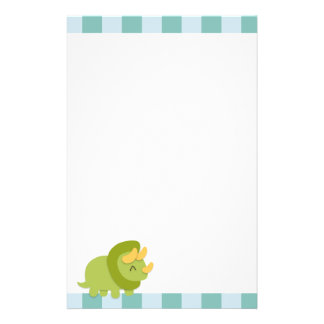 Kawaii cartoon of green and yellow Triceratops Stationery