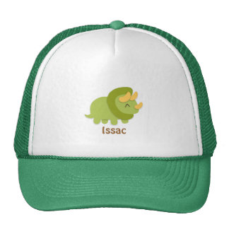 Kawaii cartoon of green and yellow Triceratops Trucker Hat