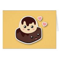 Kawaii Cartoon of Vanilla Ice Cream and Brownie Greeting Cards