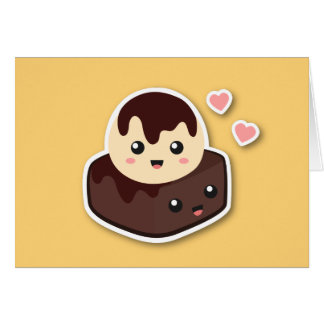 Kawaii Cartoon of Vanilla Ice Cream and Brownie Card