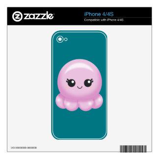 Kawaii Cartoon Pink Octopus Skins For iPhone 4S