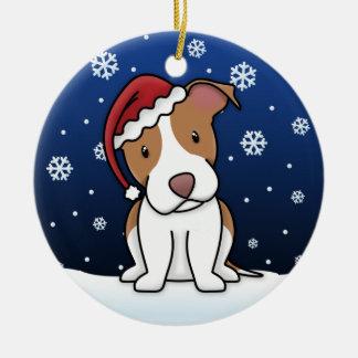 Kawaii Cartoon Pit Bull Christmas Ornament