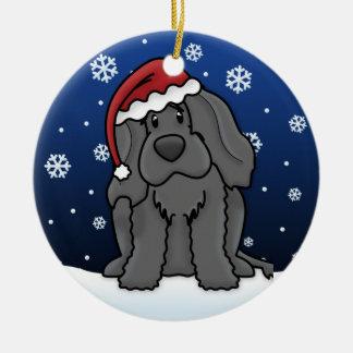Kawaii Cartoon Portuguese Water Dog Christmas Double-Sided Ceramic Round Christmas Ornament