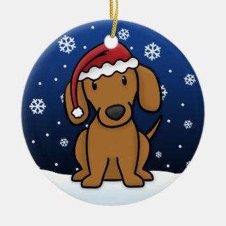 Kawaii Cartoon Red Dachshund Christmas Ceramic Ornament