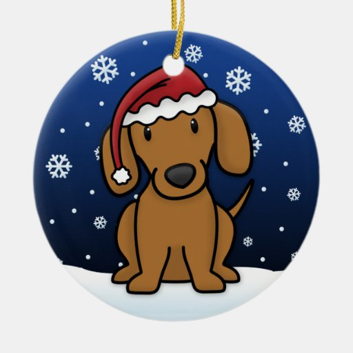 Kawaii Cartoon Red Dachshund Christmas Double-Sided Ceramic Round Christmas Ornament