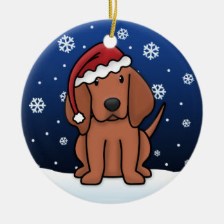 Kawaii Cartoon Redbone Coonhound Christmas Double-Sided Ceramic Round Christmas Ornament