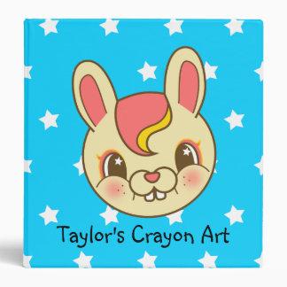 Kawaii Cartoon Retro Bunny Rabbit kids Binder
