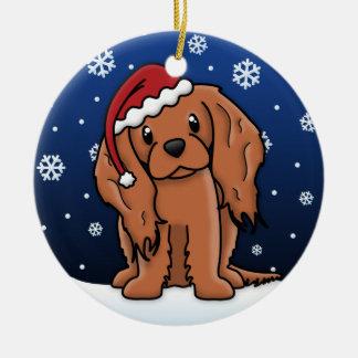 Kawaii Cartoon Ruby Cavalier King Charles Spaniel Double-Sided Ceramic Round Christmas Ornament