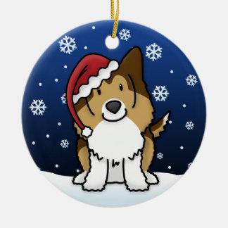Kawaii Cartoon Sable Sheltie Christmas Ornament
